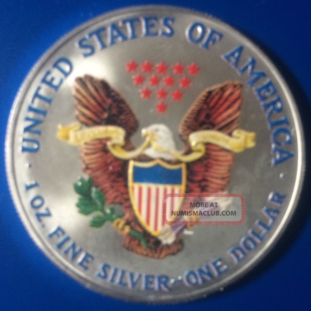 2001 Colorized American 1 Oz Silver Eagle Coin 999 Fine