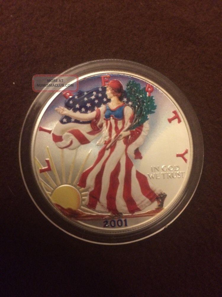 2001 Colorized American 1 Oz Silver Eagle Coin 999 Fine