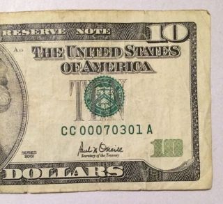 Low Serial Number,  2001 $10 Dollars Frn photo