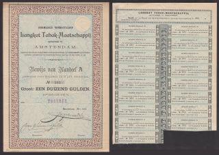 Netherlands 1894 Bond With Coupons Langkat Tabak Maatschappij Amsterdam.  A80 photo