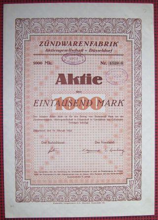 Germany 1922 Bond Certificate - 1000 Mark - Zundwarenfabriken Dusseldorf.  A79 photo