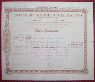 Gb England 1933 Bond Certificate Union Match Industries Limited. .  A76 photo