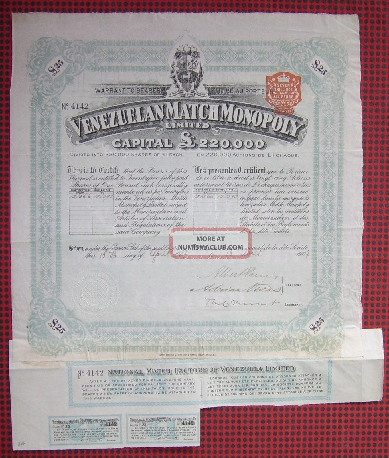 Gb England 1907 Bond With Coupons National Match Factory Of Venezuela.  A77 World photo