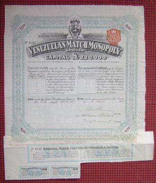 Gb England 1907 Bond With Coupons National Match Factory Of Venezuela.  A77 photo