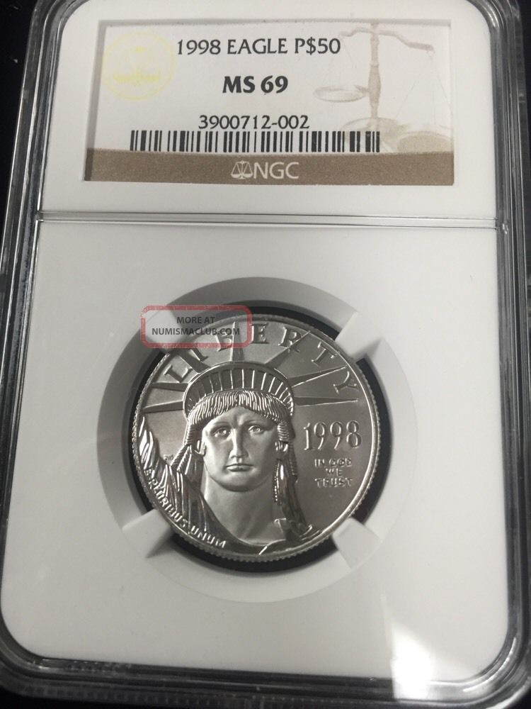 1998 $50 1/2 Oz Platinum Eagle Ngc Ms69 Platinum photo