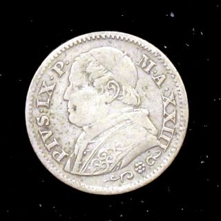 1869 Xxiiir Fine (f) Papal States Italy Silver 10 Soldi - It14 photo