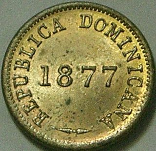 Dominican Republic 1877 1 Centavo - - - Scarce Variety - - - photo
