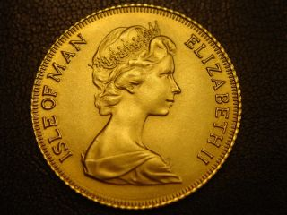1976 Gold Isle Of Man 1/2 Sovereign Coin Unc Only 2,  568 Minted photo