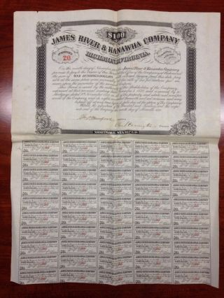 James River Kanawha Canal Co.  $100 Mortgage Bond Certificate 1870 Va Wv Munford photo