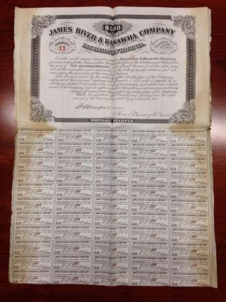 1870 James River Kanawha Canal Co $500 Stock Certificate Mortgage Munford Va Wv photo