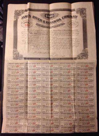 James River Kanawha Canal Co 1870 Stock Certificate $1000 Mortgage Munford Va Wv photo