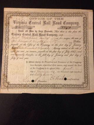 Rare Stock Certificate Virginia Central Railroad Co 1867 Issued E.  Fontaine photo