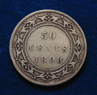 Canada 1898 Newfoundland Silver Half Dollar Fifty 50 Cents Cent Piece photo