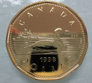 1998w Canada Loonie Proof - Like One Dollar Coin - A photo
