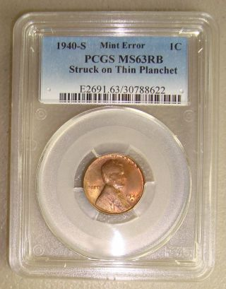 1940 - S Lincoln Wheat Cent Struck On A Thin Planchet Error Pcgs Ms63rb photo