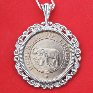 Liberia 1941 1/2 Cent Bu Unc Elephant Coin Solid Sterling Silver Necklace photo