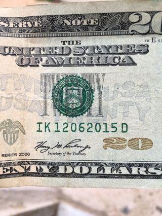 $20 Dollar Bill Date Serial Number: 12/06/2015 photo