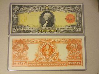 1905 $20 Dollars Gold Certificate Bep Intagio Proof Prints Technicolor photo