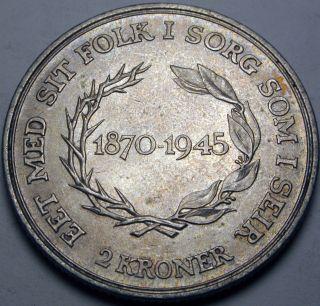 Denmark 2 Kroner Nd (1945) - Silver - Christian X.  - Xf - 1454 猫 photo