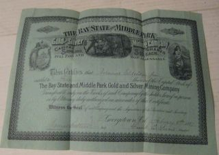 Bay State And Middle Park Gold Silver Mining Co Stock Certificate 1887 photo