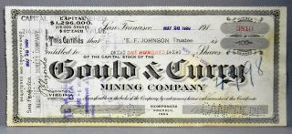 1920 Stock Certificate Gould & Curry Mining Company 100 Shares Capital Stock photo