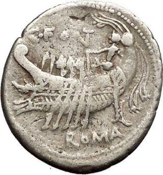 Roman Republic 114bc Sardinia Galley Victory Janus Form Head Silver Coin I52630 photo