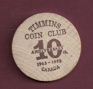 1975 Timmins Coin Club 10th Anniversary Wooden Trade Dollar photo