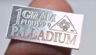 Acb Palladium 99.  9 Pure 1 Gram Precious Metal Acb Very Rare Bullion photo