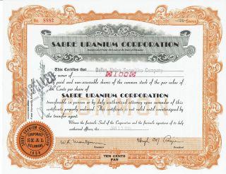 Sabre Uranium Corporation Stock Certificate Dated Jan 13,  1955 - Shape photo