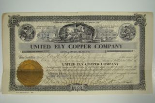 United Ely Copper Company No 172 Stock Certificate To W.  H.  Shockley 1906 photo