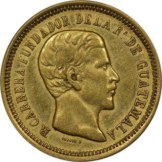 1869 - R Guatemala Gold 4 Pesos Pcgs Au50 Km - 187 (pcgs Secure) - Tough Coin photo
