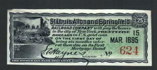 $25 Gold Coin St Louis Alton Springfield Railroad Co 1895 Usa Old Green Rr Bill photo