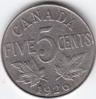 1926 Canada 5 - Cent Nickel Coin - Far 6 - V G photo