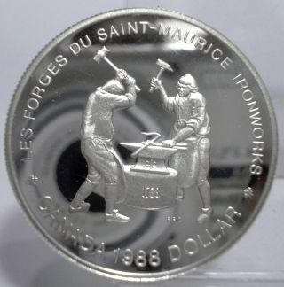 1988 Proof Canada One Dollar Ironworks Silver Coin Unc photo