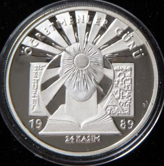Teacher ' S Day,  November 24th - Silver Unc.  Coin - Rare - 1989 Turkey photo