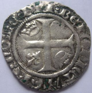 France Charles Vi 1380 - 1422 Blanc Guenar Argent Silver Coin photo