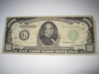 1934a $1000 One Thousand Dollar Federal Reserve Note,  Circulated photo