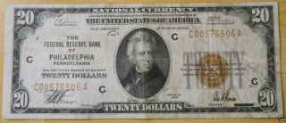 National Currency $20.  00 $20 1929 Federal Reserve Bank Philadelphia C00576506a photo