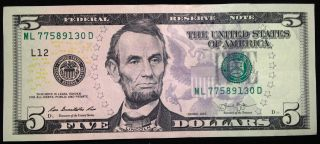 2013 $5 Five Dollar Bill,  Uncirculated Us Currency Note,  Frb L San Francisco photo