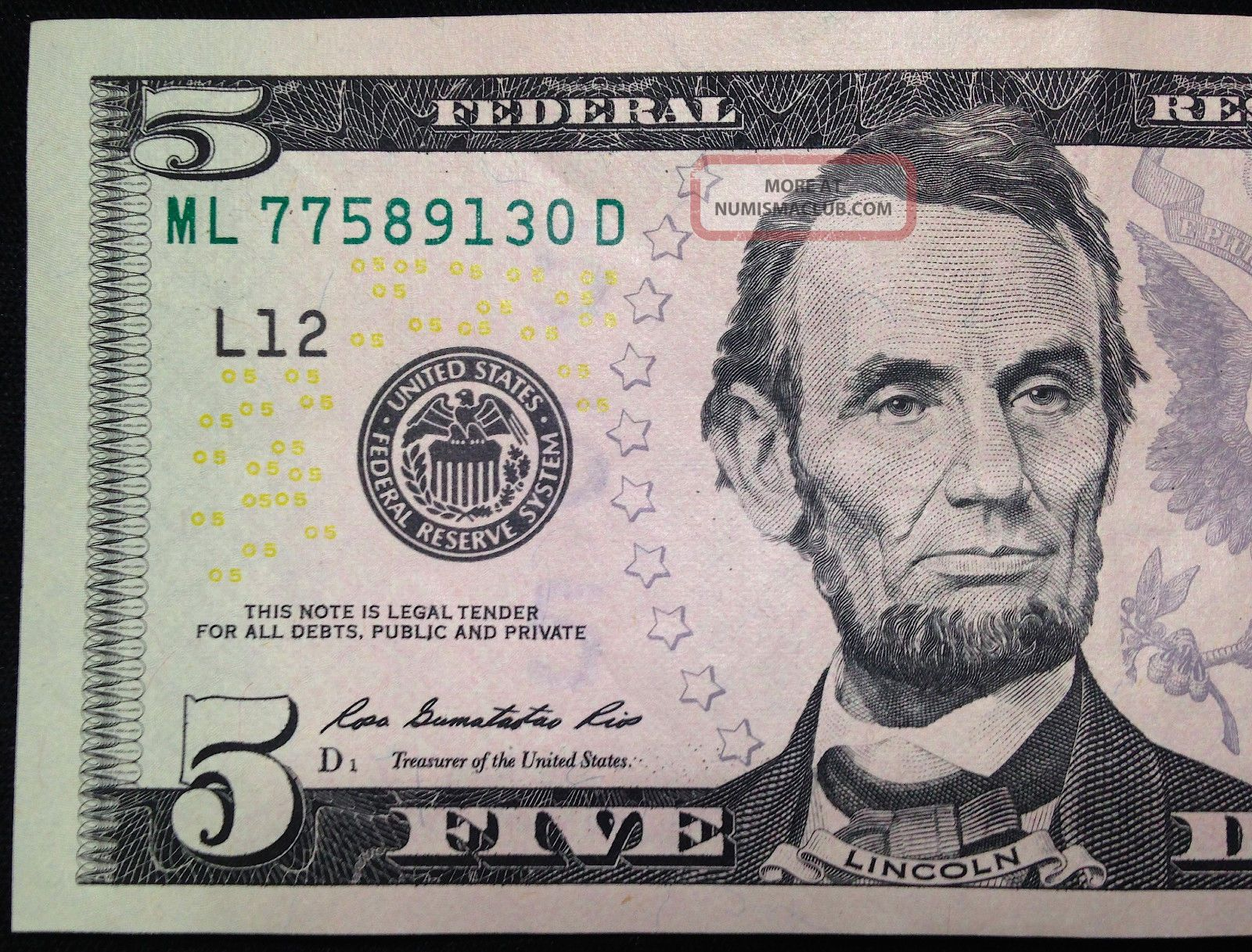 2013 $5 Five Dollar Bill, Uncirculated Us Currency Note, Frb L San