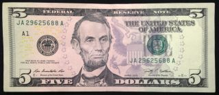 2009 $5 Five Dollar Bill,  About Uncirculated Us Currency Note,  Frb A Boston photo
