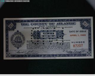 1933 Three Dollar Atlantic County Scrip Signed By Enoch Johnson (67 - 122) photo