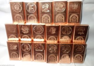 10 Patriotic 1 Pound.  999 Copper Bullion Art Bar Ingots Colectibles F/s photo
