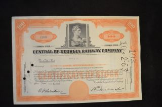 1960 Share Certificate For Central Of Georgia Railway Company 100 Shares photo