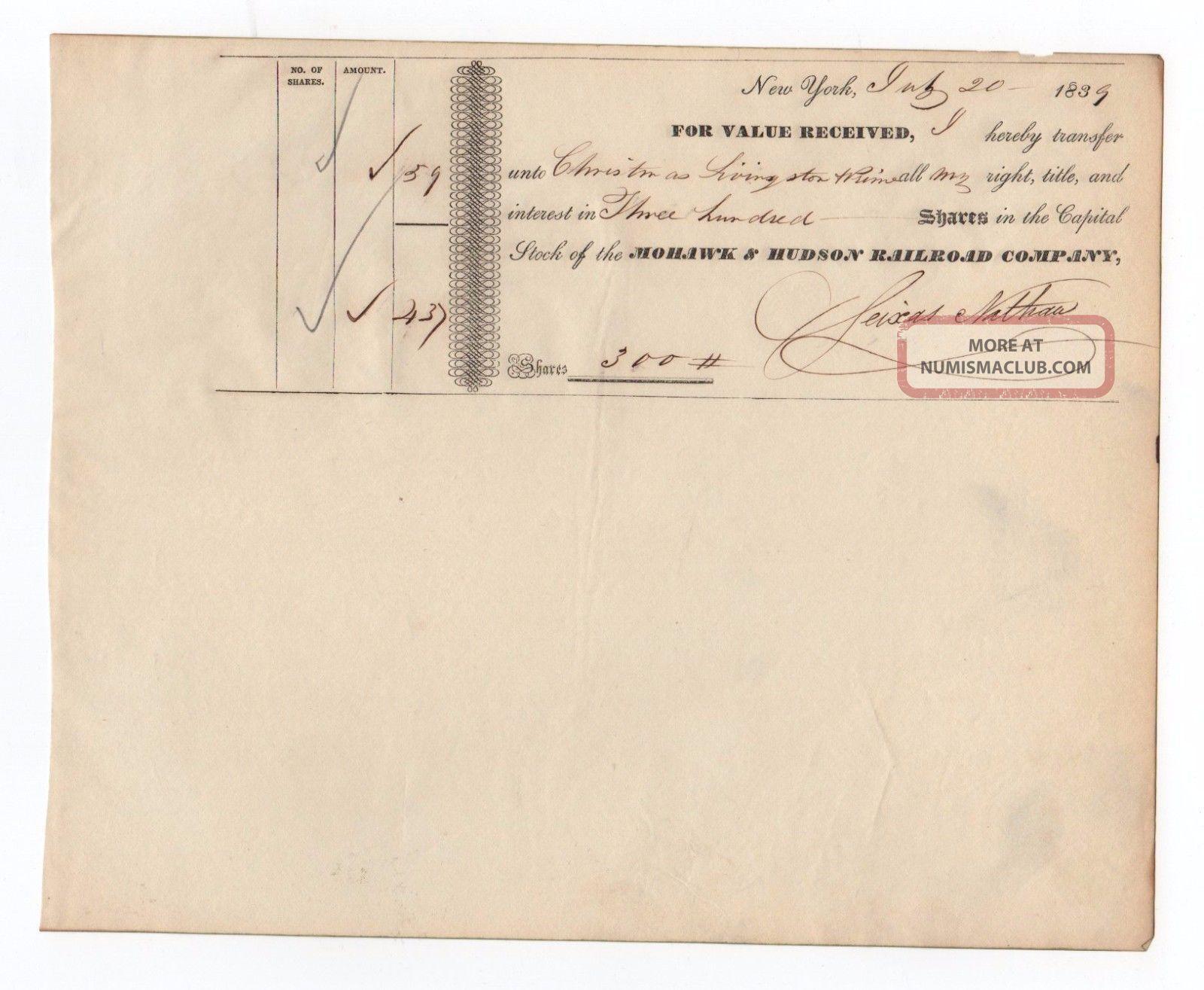 1839 Mohawk And Hudson Railroad Company Stock Transfer Transportation photo