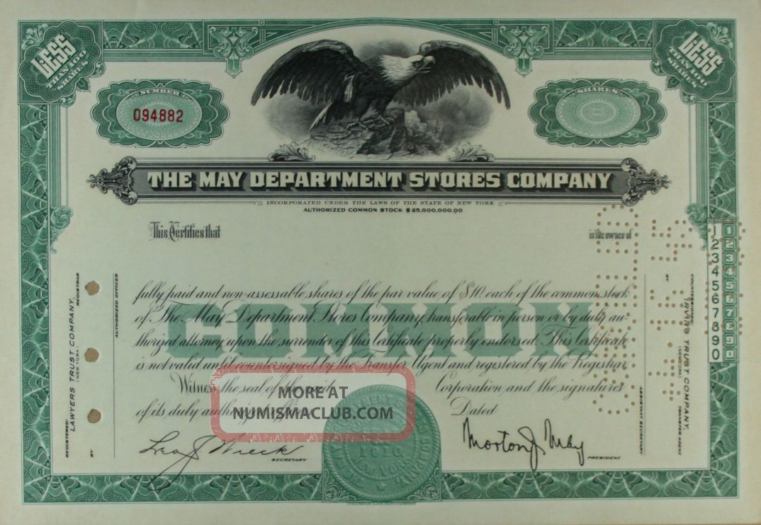 S729 May Department Stores Company Stock Certificate Unissued Green Stocks & Bonds, Scripophily photo