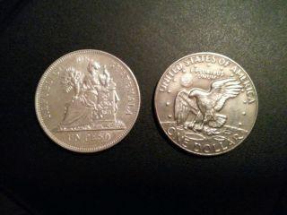 Guatemala 1 Peso 1896.  One Silver Crown Dollar Coin.  Un Peso.  Large. photo