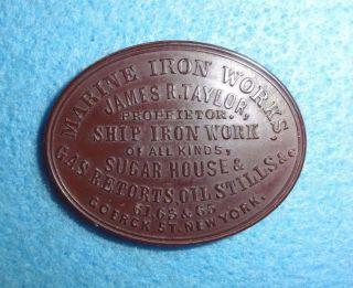 Hard Rubber Merchant Token - - Marine Iron,  James Taylor,  York,  Oval photo