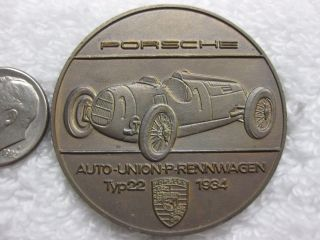 Porsche 1934 Type 22 Pictorial 1970 Commemorative Medal Token Coin Unc C48 photo