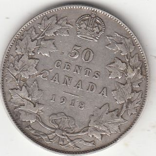 . 925 Silver 1918 George V 50 Cent Piece Vg - F photo